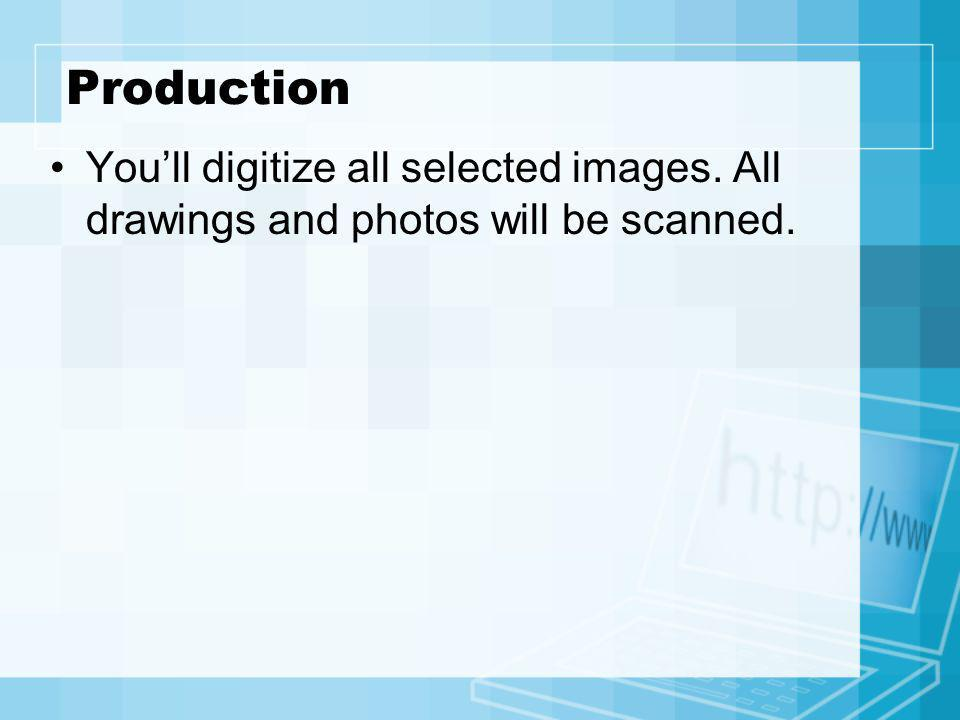 Production You'll digitize all selected images. All drawings and photos will be scanned.