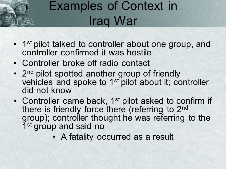 Examples of Context in Iraq War