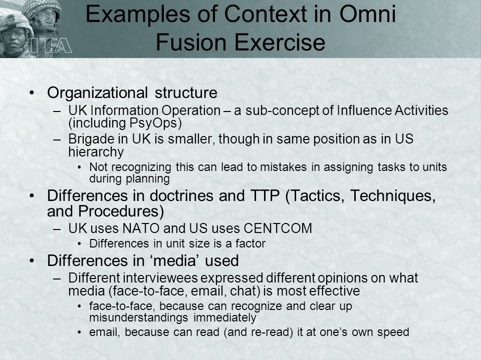 Examples of Context in Omni Fusion Exercise