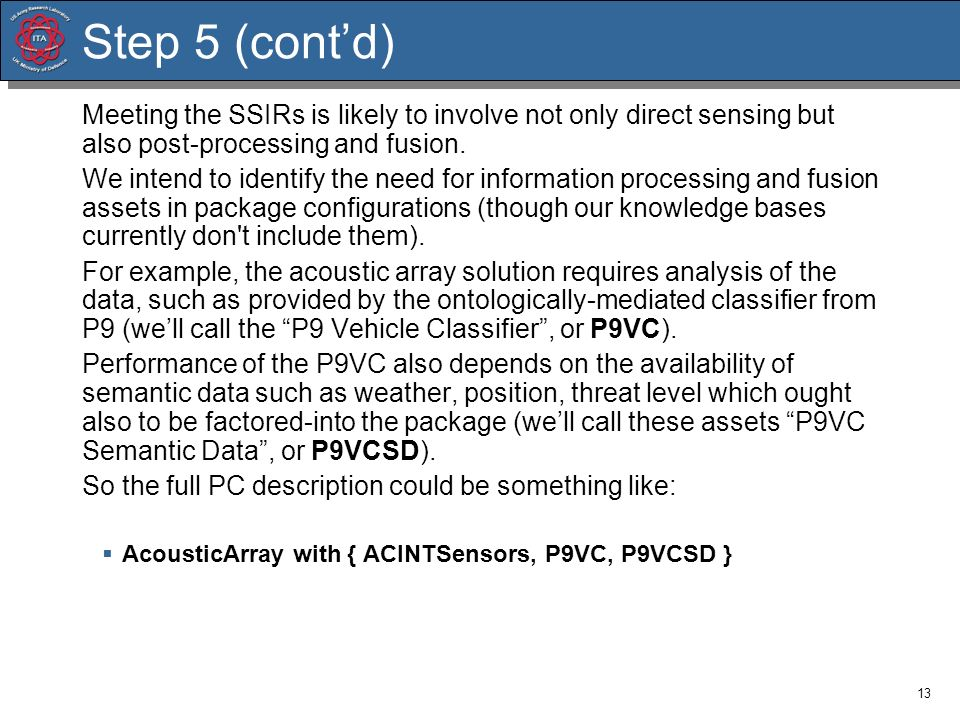 Step 5 (cont'd) Meeting the SSIRs is likely to involve not only direct sensing but also post-processing and fusion.
