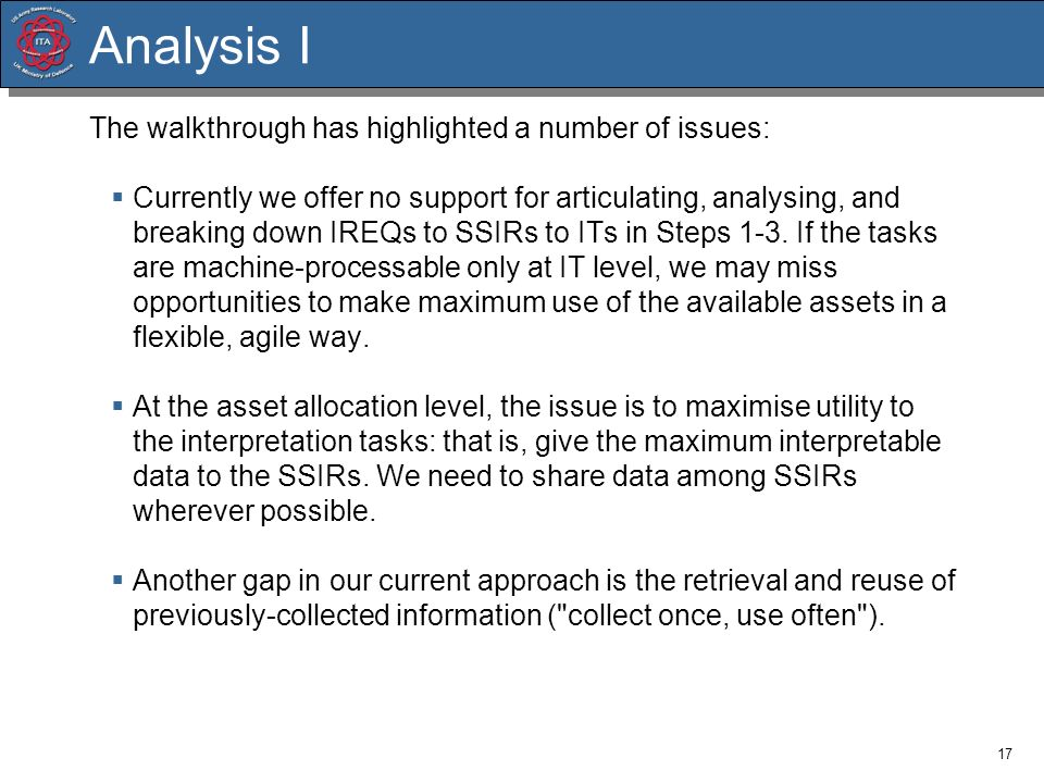 Analysis I The walkthrough has highlighted a number of issues: