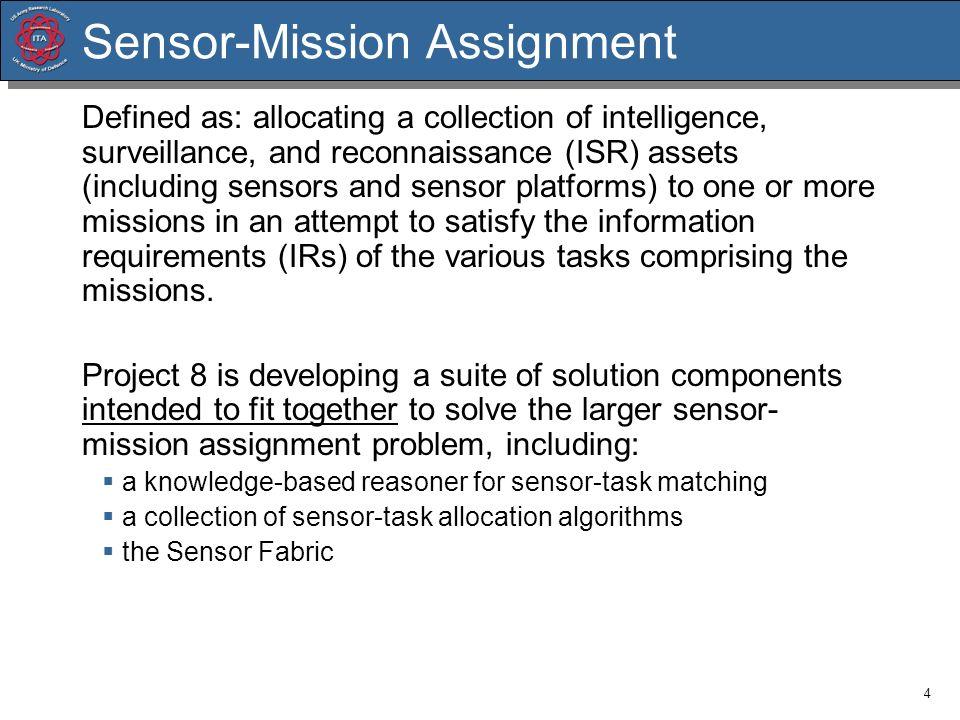 Sensor-Mission Assignment