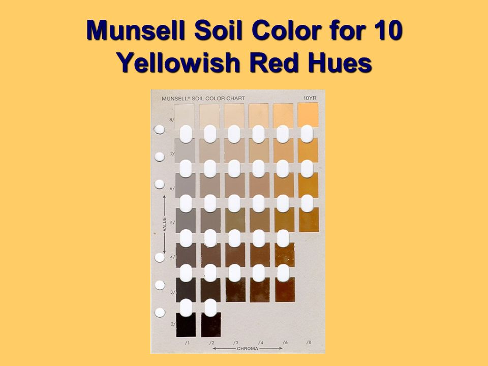 Munsell Soil Color for 10 Yellowish Red Hues