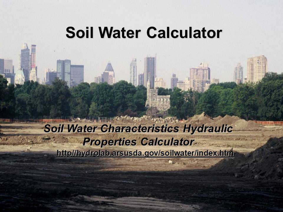 Soil Water Characteristics Hydraulic Properties Calculator