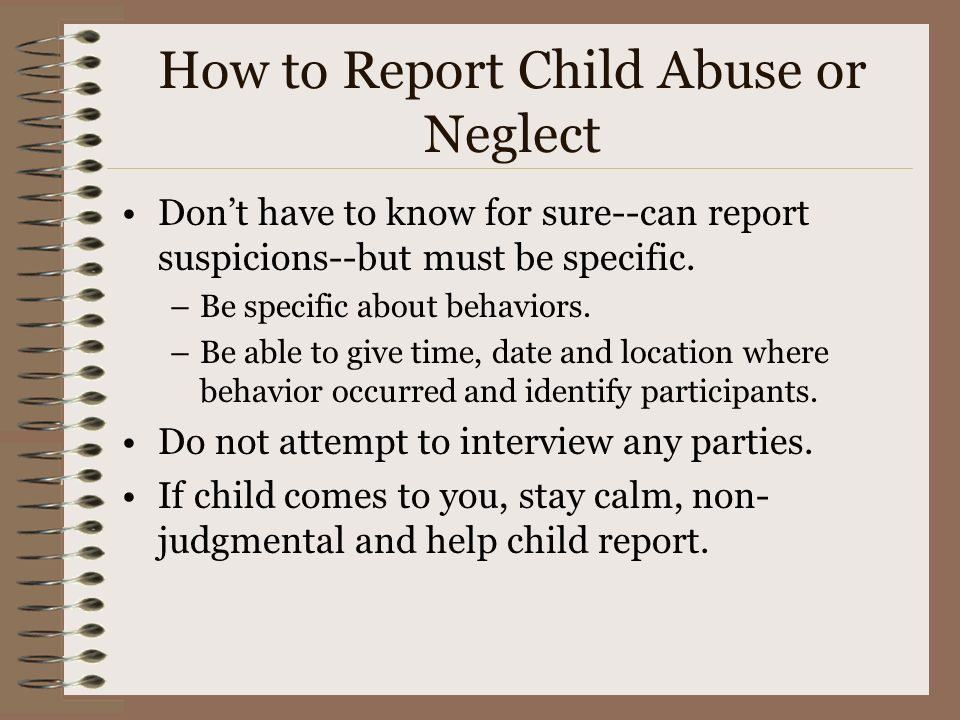 How to Report Child Abuse or Neglect