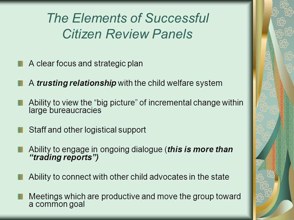 The Elements of Successful Citizen Review Panels