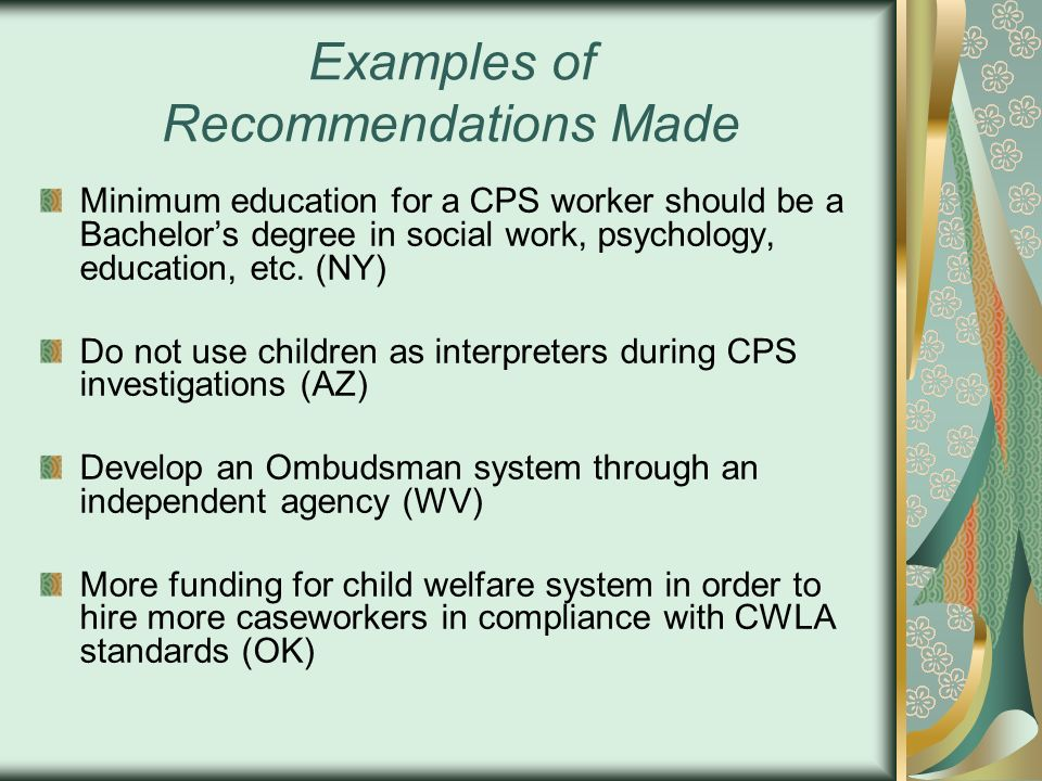Examples of Recommendations Made