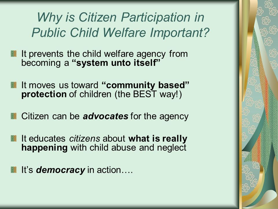 Why is Citizen Participation in Public Child Welfare Important