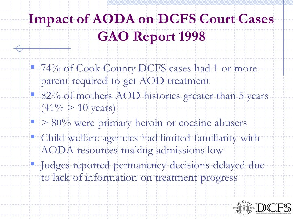 Impact of AODA on DCFS Court Cases GAO Report 1998