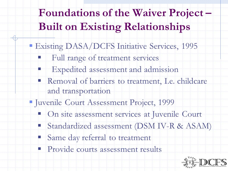 Foundations of the Waiver Project – Built on Existing Relationships
