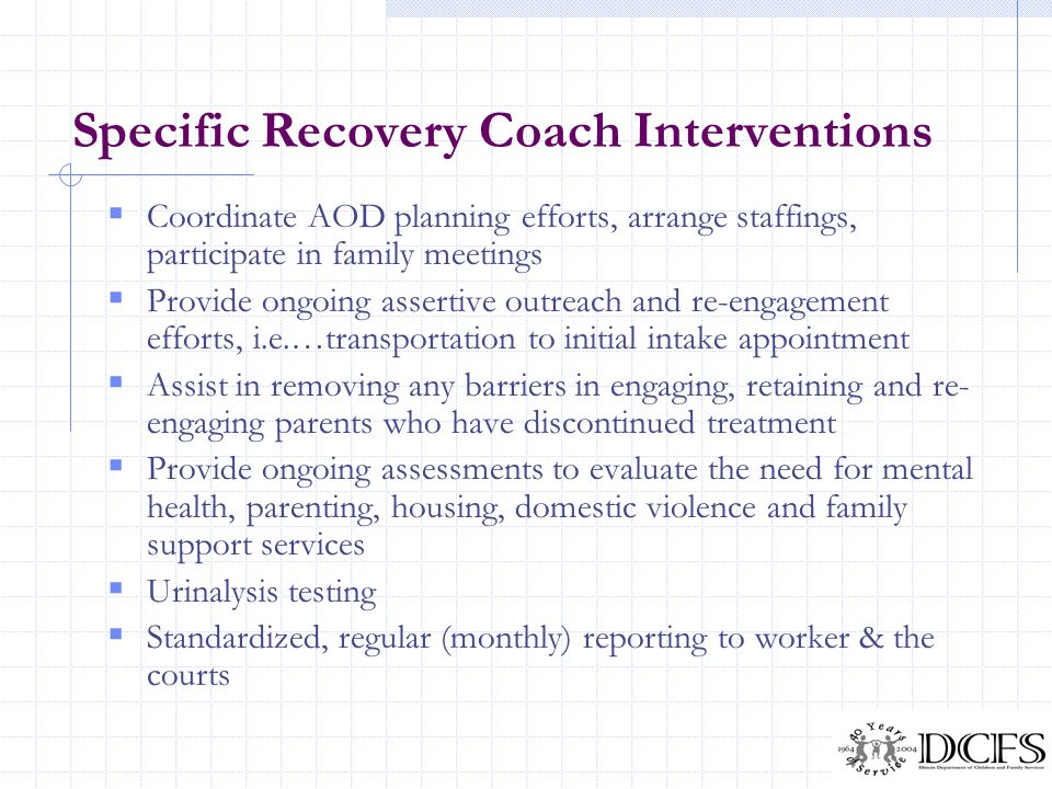 Specific Recovery Coach Interventions