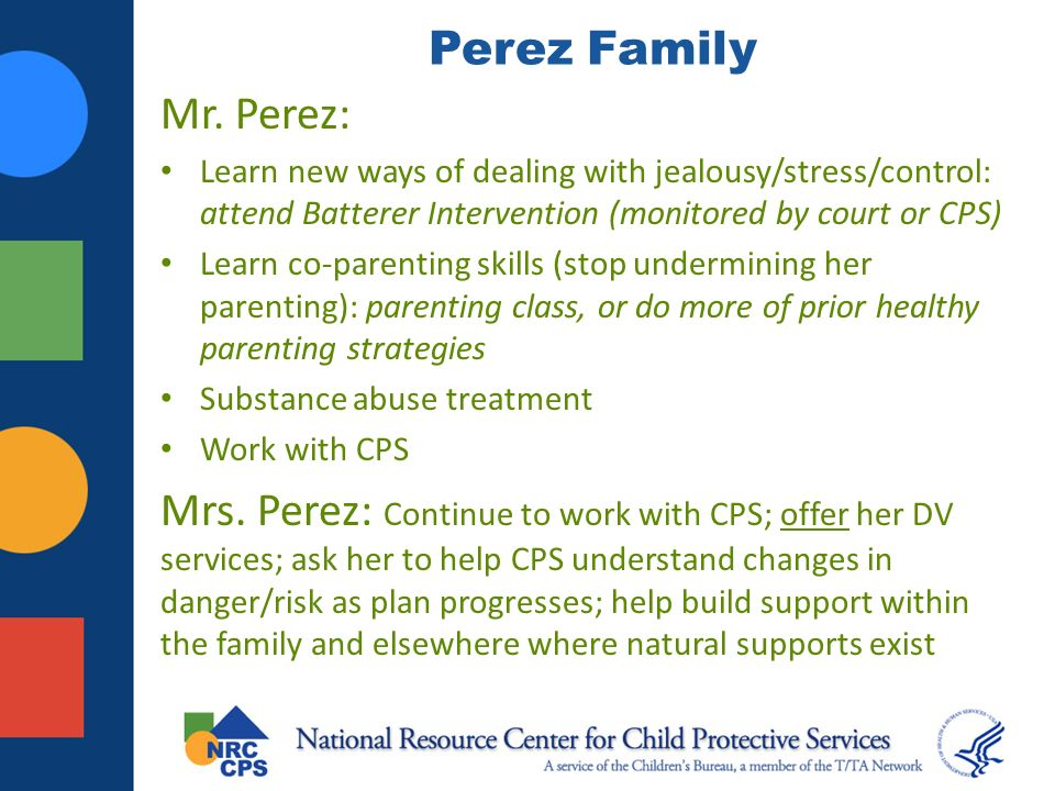 Perez Family Mr. Perez: Learn new ways of dealing with jealousy/stress/control: attend Batterer Intervention (monitored by court or CPS)