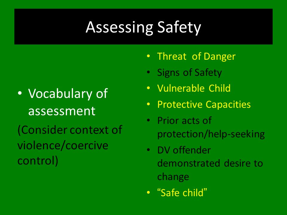Assessing Safety Vocabulary of assessment