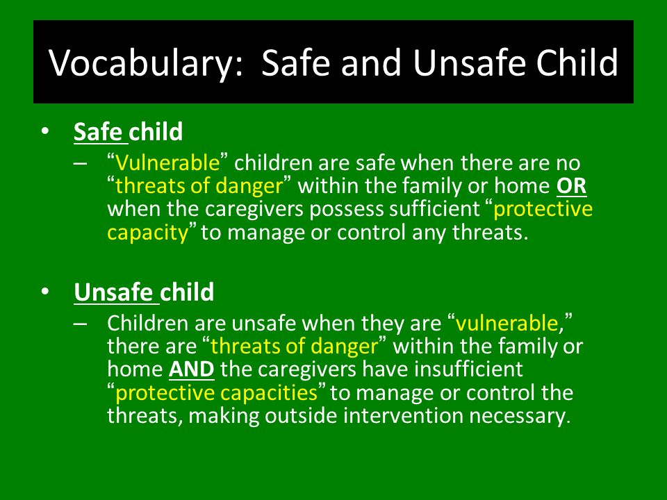 Vocabulary: Safe and Unsafe Child