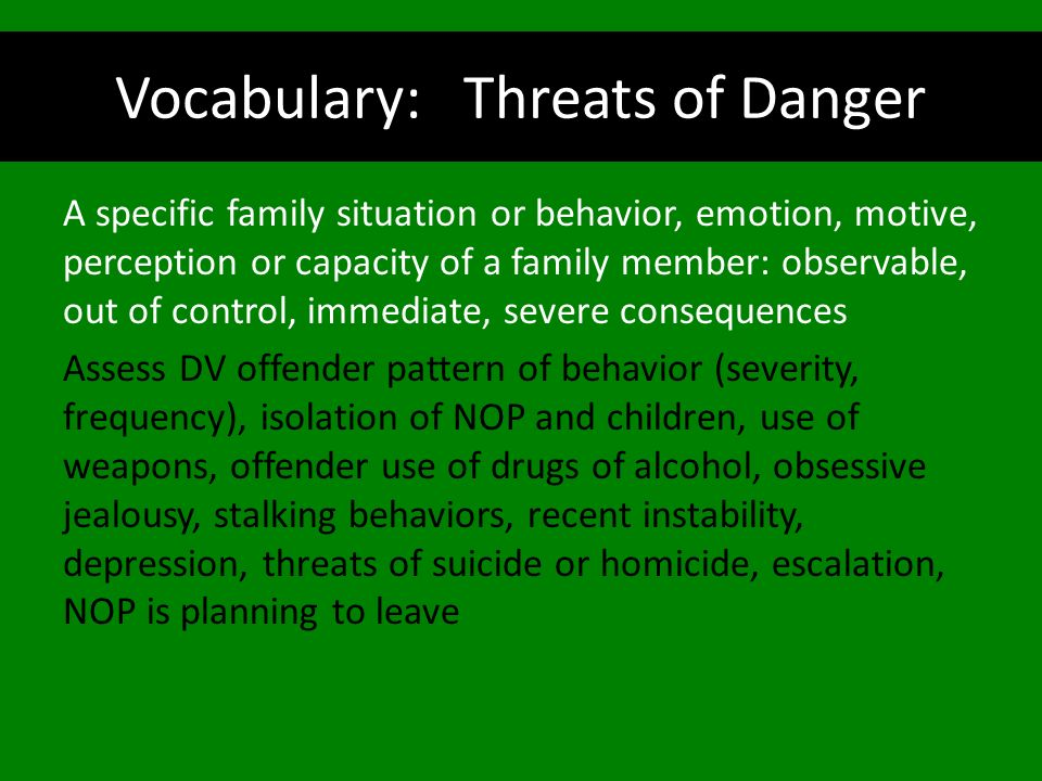 Vocabulary: Threats of Danger
