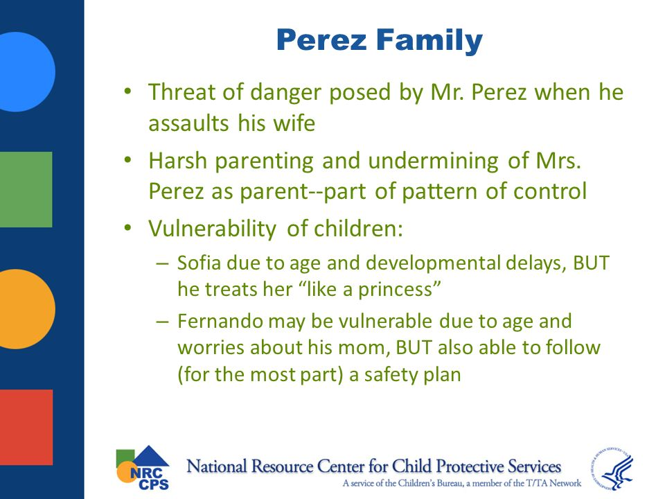 Perez Family Threat of danger posed by Mr. Perez when he assaults his wife.