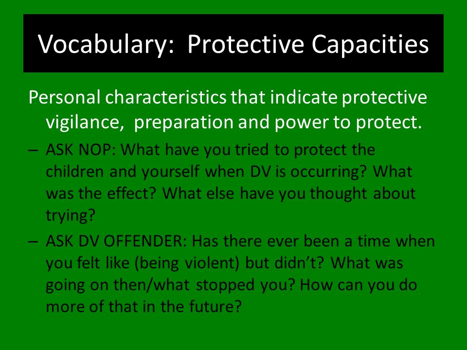 Vocabulary: Protective Capacities