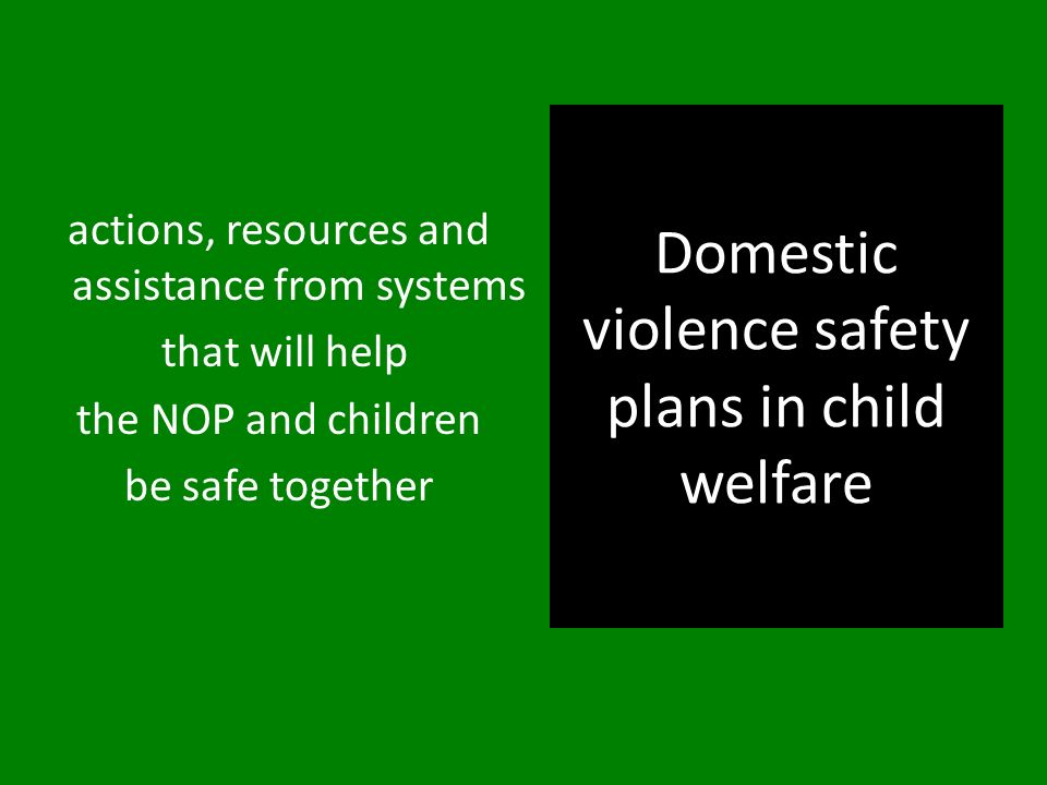 Domestic violence safety plans in child welfare