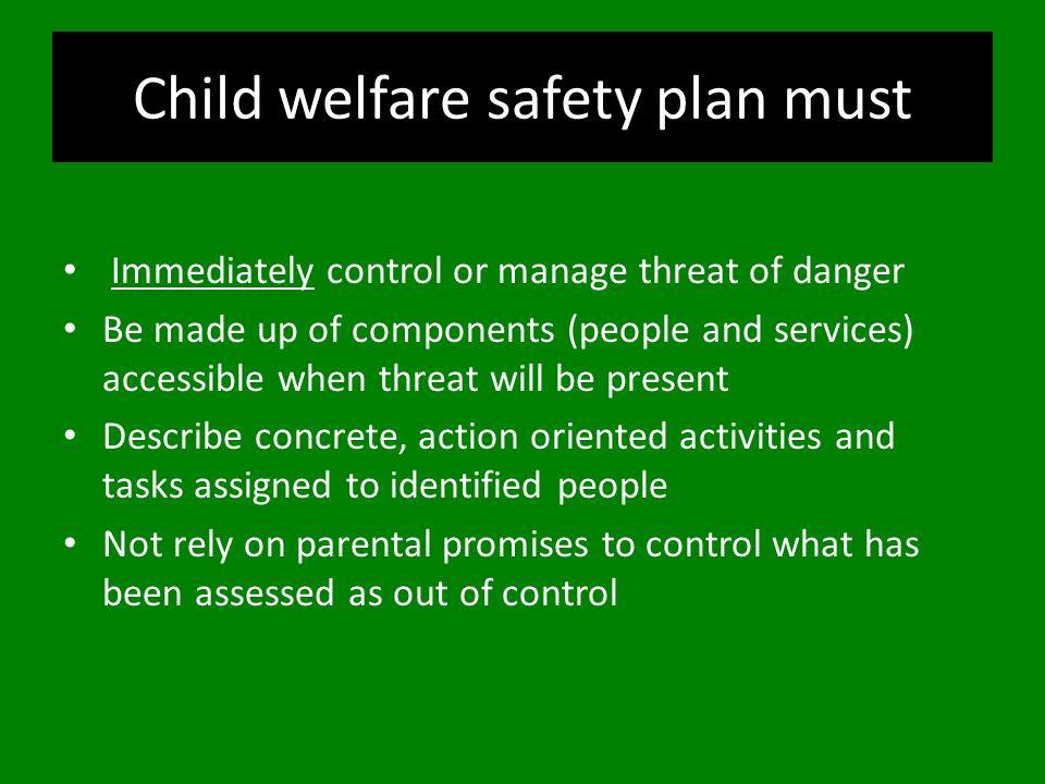 Child welfare safety plan must