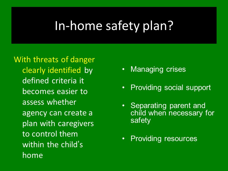 In-home safety plan