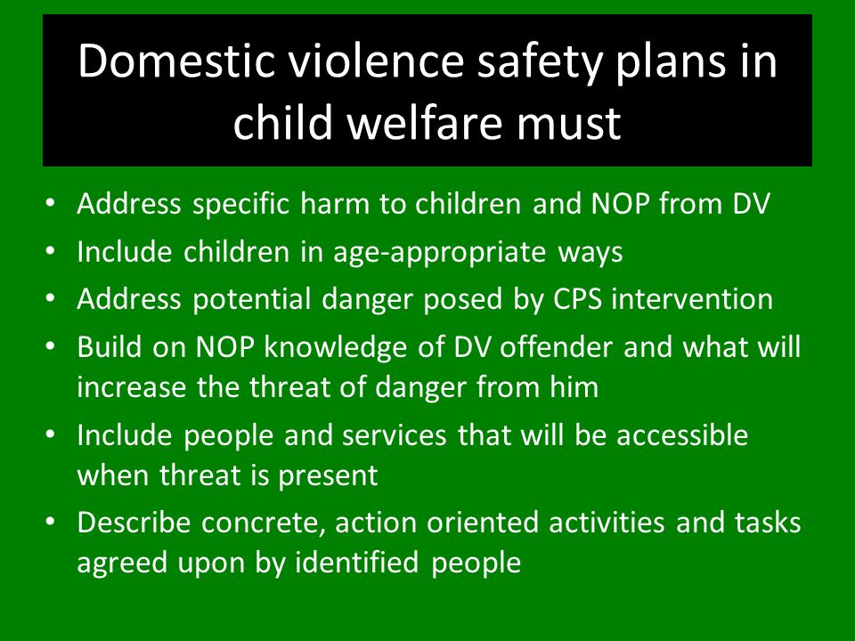 Domestic violence safety plans in child welfare must