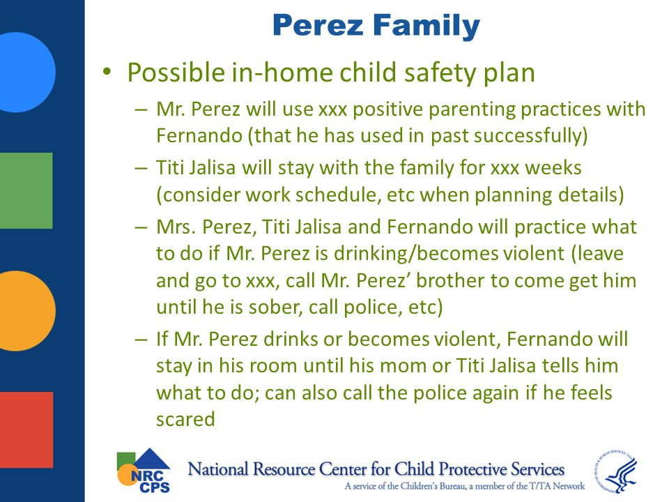 Possible in-home child safety plan
