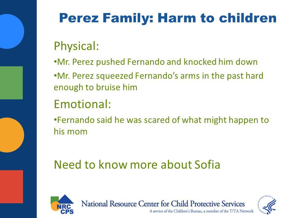 Perez Family: Harm to children