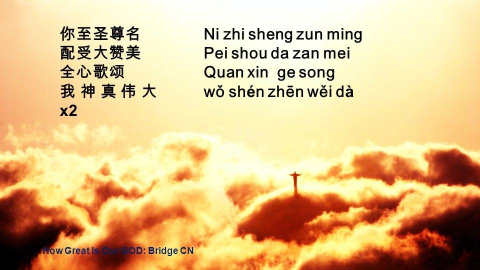 你至圣尊名 Ni zhi sheng zun ming 配受大赞美 Pei shou da zan mei