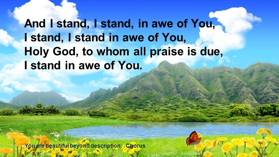 And I stand, I stand, in awe of You, I stand, I stand in awe of You,