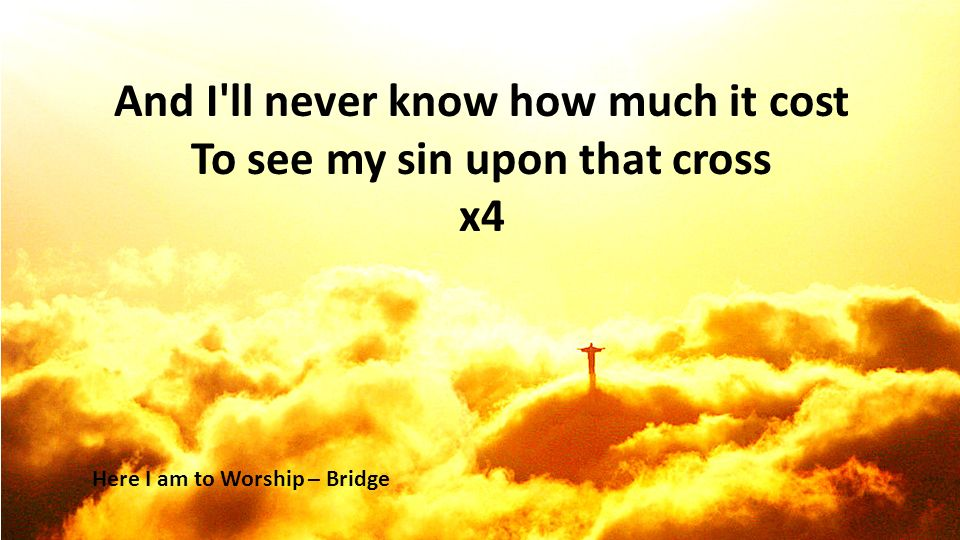 And I ll never know how much it cost To see my sin upon that cross