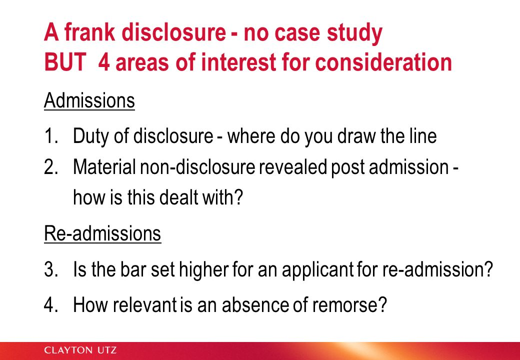 A frank disclosure - no case study BUT 4 areas of interest for consideration