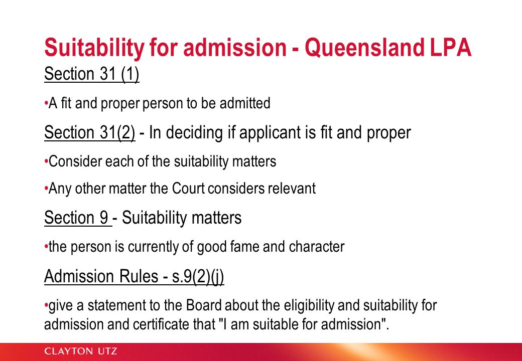 Suitability for admission - Queensland LPA
