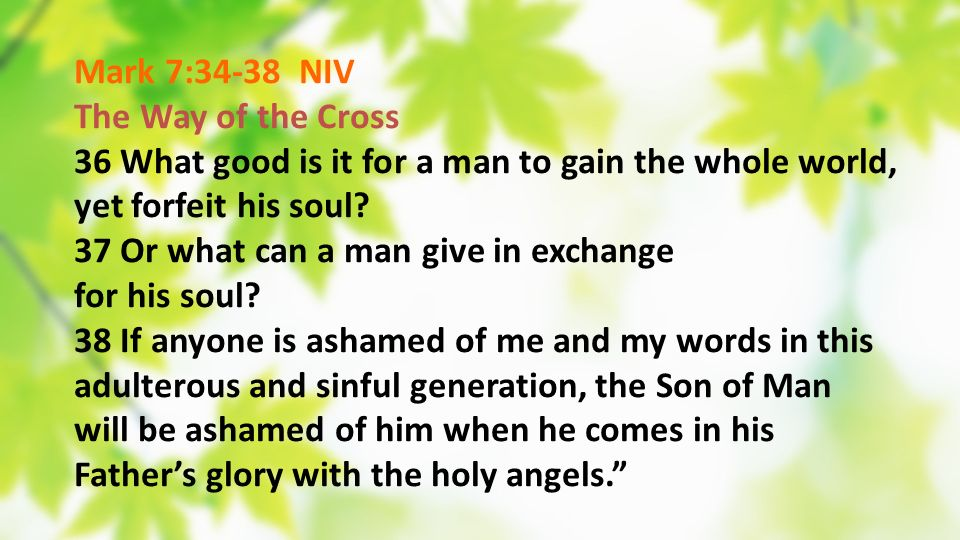 Mark 7:34-38 NIV The Way of the Cross. 36 What good is it for a man to gain the whole world, yet forfeit his soul