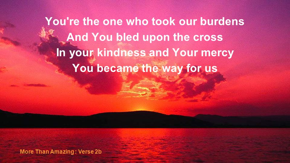 You re the one who took our burdens And You bled upon the cross