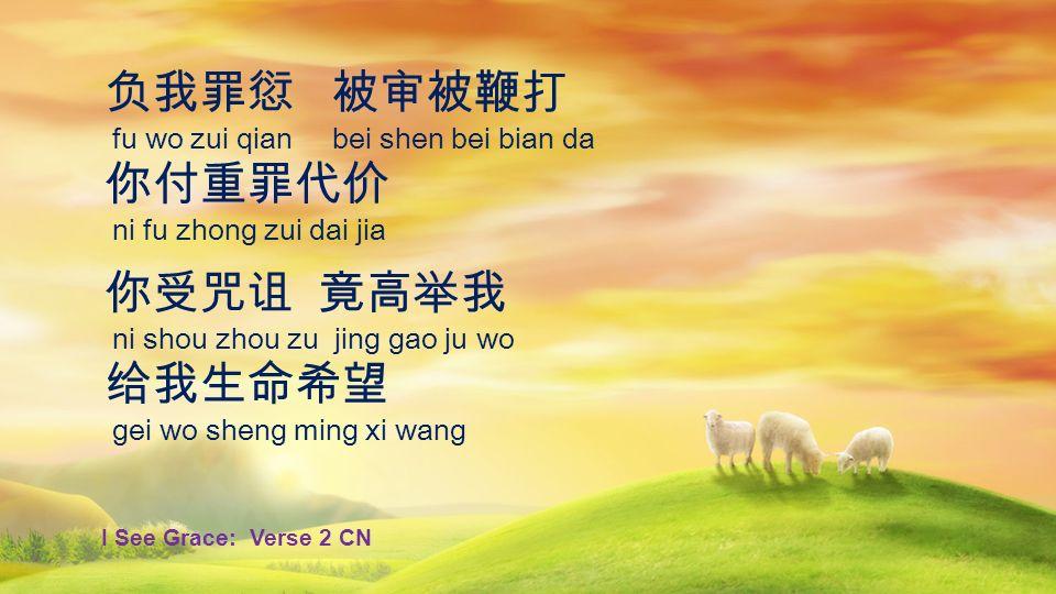 负我罪愆 被审被鞭打 你付重罪代价 你受咒诅 竟高举我 给我生命希望 fu wo zui qian bei shen bei bian da