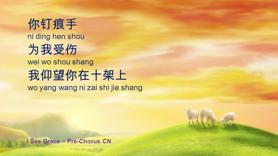 你钉痕手 为我受伤 我仰望你在十架上 ni ding hen shou wei wo shou shang