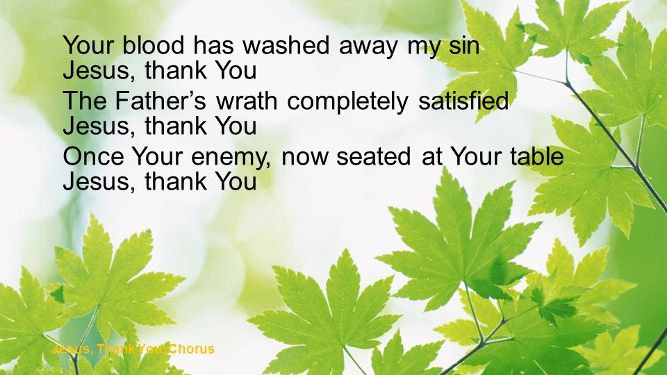 Your blood has washed away my sin Jesus, thank You