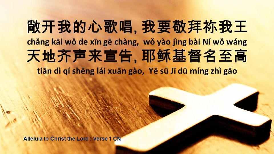 敞开我的心歌唱, 我要敬拜祢我王 天地齐声来宣告, 耶稣基督名至高