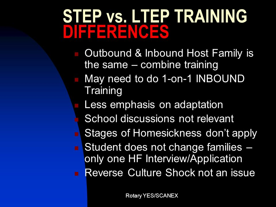 STEP vs. LTEP TRAINING DIFFERENCES