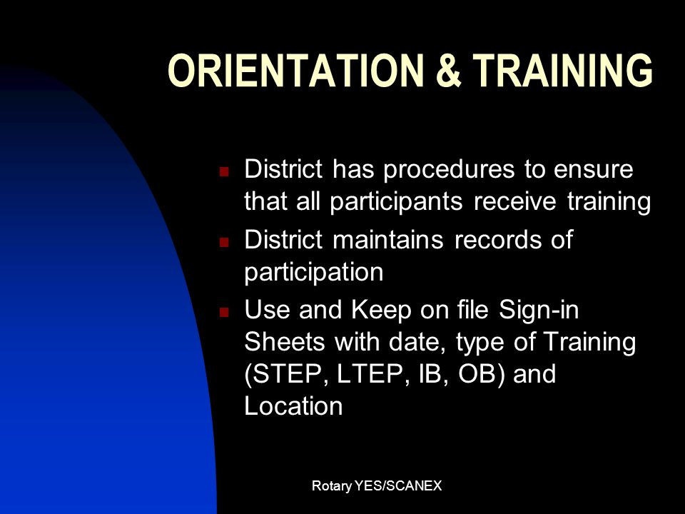 ORIENTATION & TRAINING