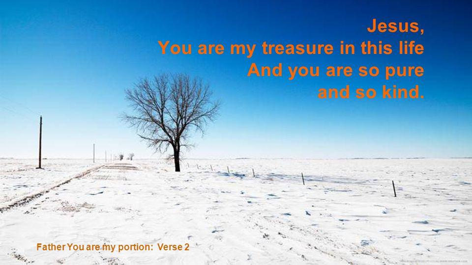 You are my treasure in this life And you are so pure and so kind.