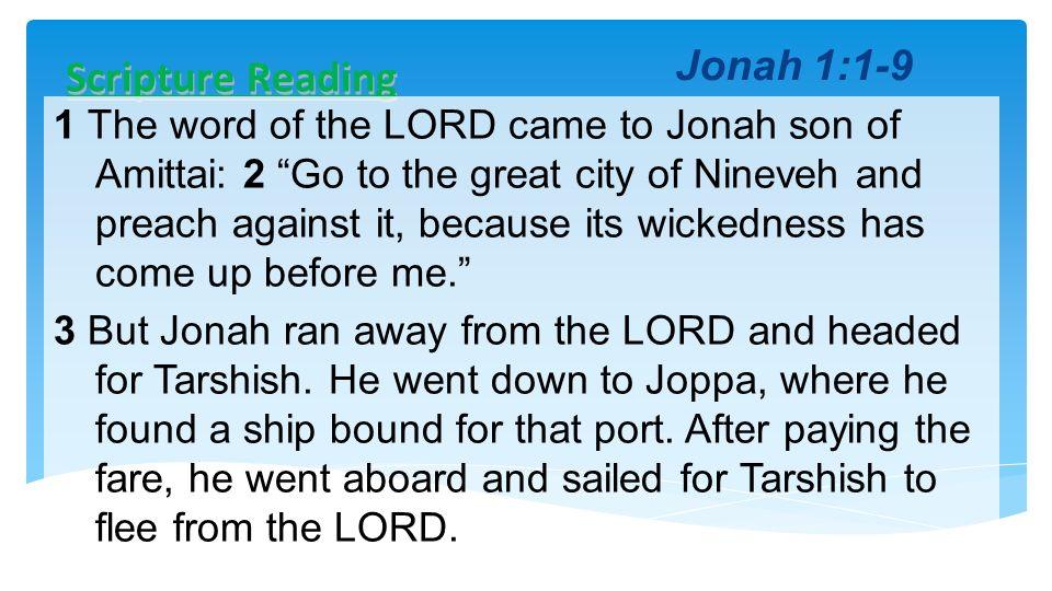 Scripture Reading Jonah 1:1-9