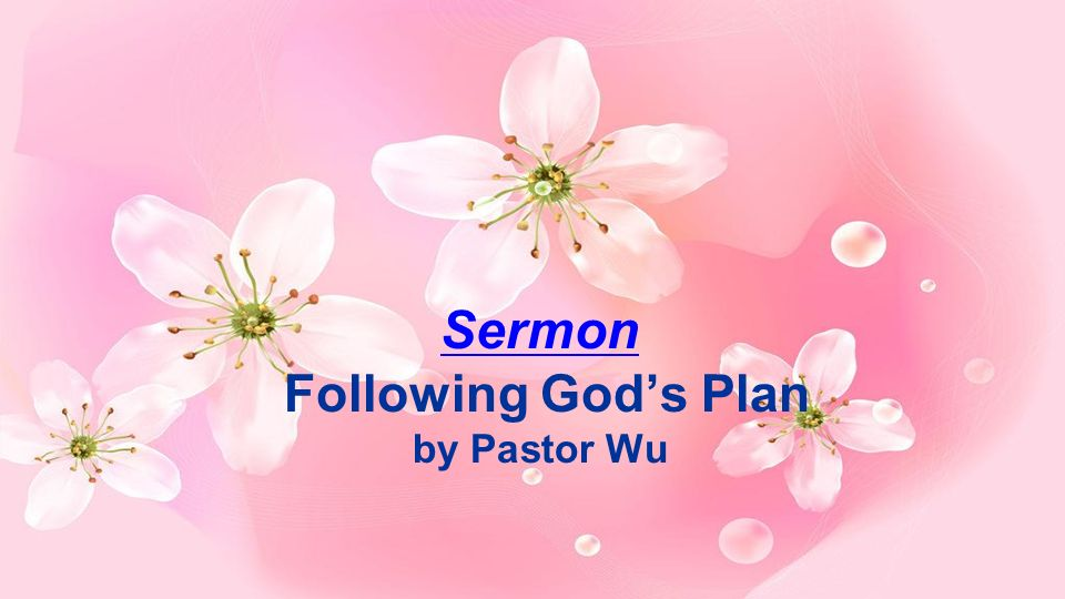 Sermon Following God's Plan by Pastor Wu