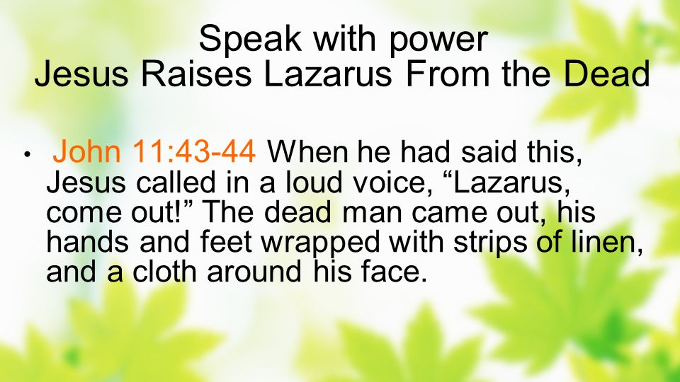 Speak with power Jesus Raises Lazarus From the Dead