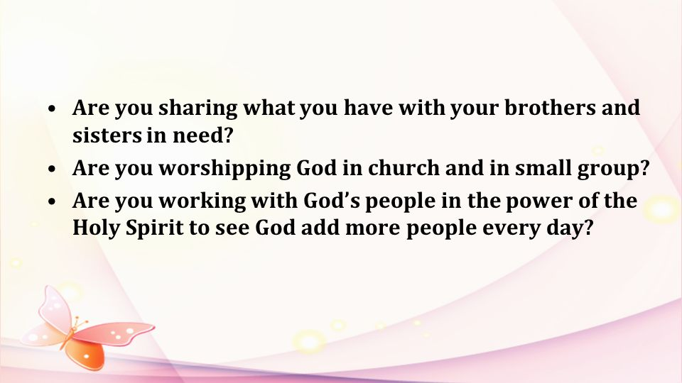 Are you sharing what you have with your brothers and sisters in need