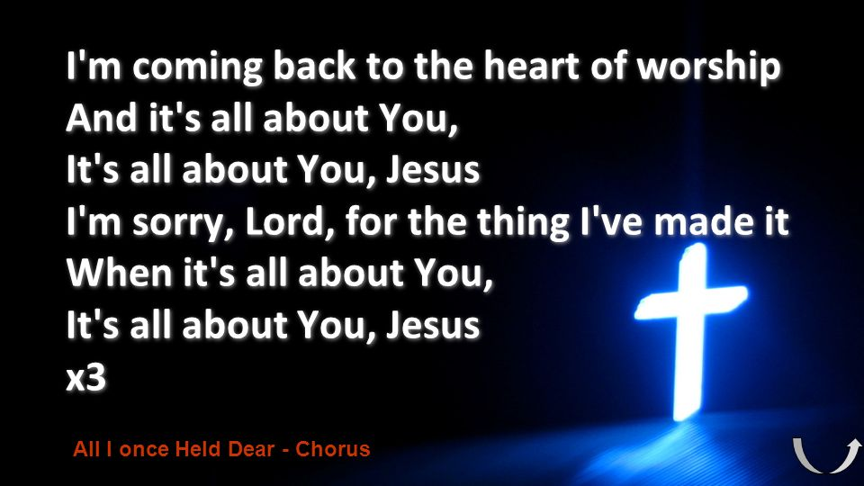 I m coming back to the heart of worship And it s all about You,