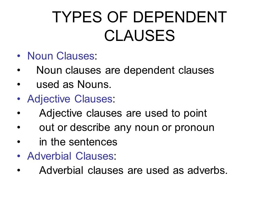 Categories Of Dependent Clauses Daily Grammar Lesson English