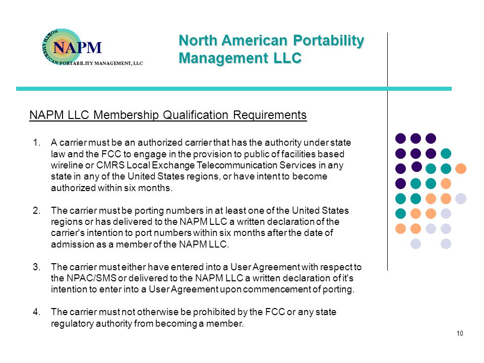 NAPM LLC Membership Qualification Requirements