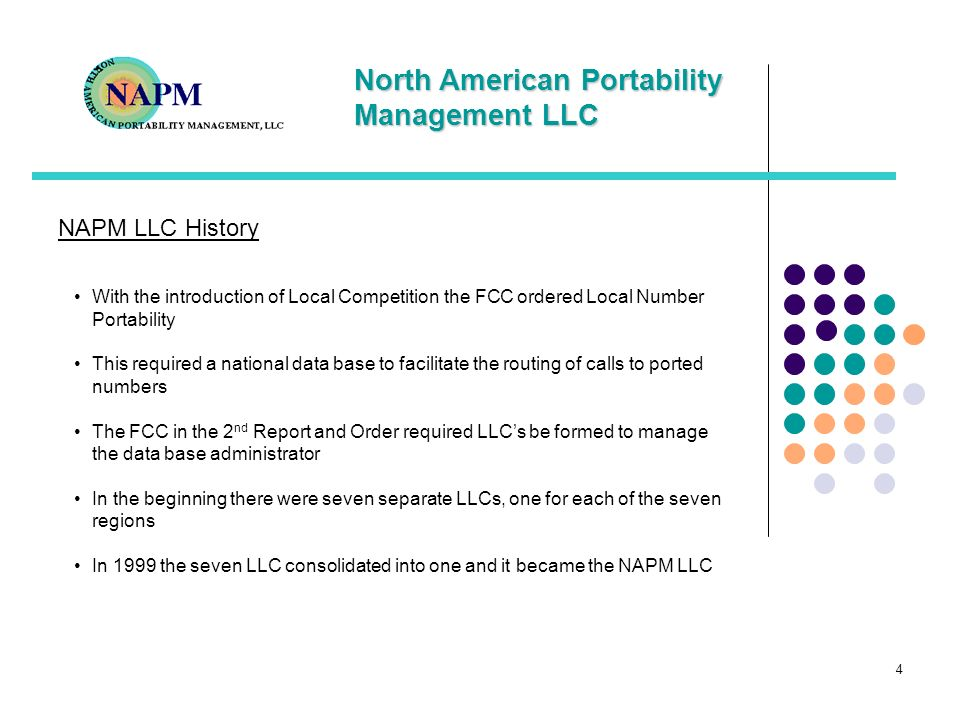 NAPM LLC HistoryWith the introduction of Local Competition the FCC ordered Local Number Portability.