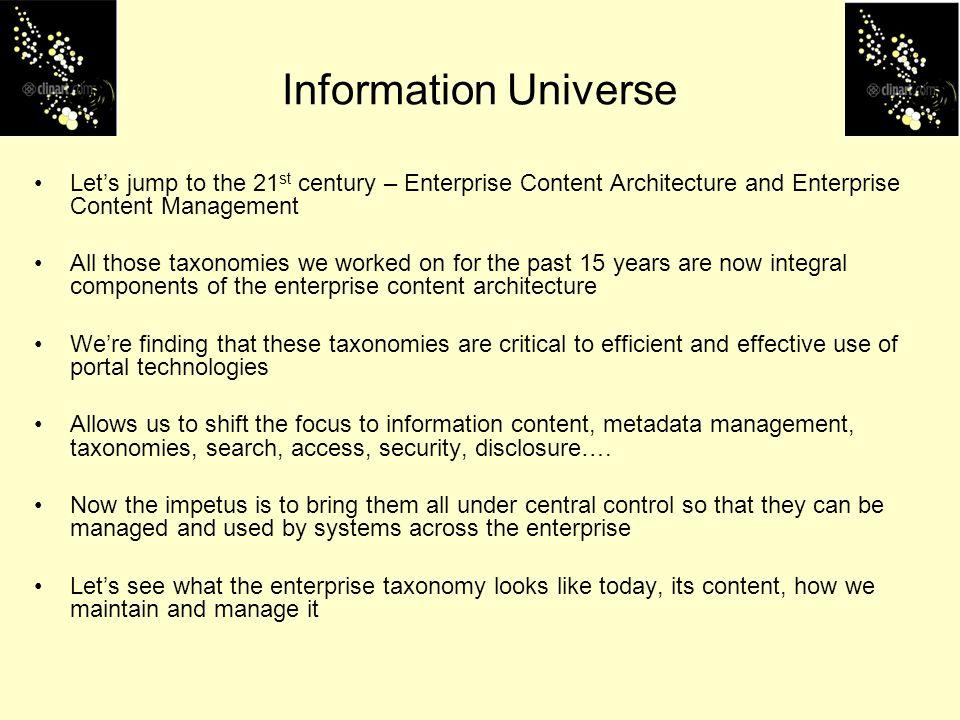 Information Universe Let's jump to the 21st century – Enterprise Content Architecture and Enterprise Content Management.